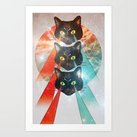 hippy Art Prints featuring Hippy Cats by Lauren Miller