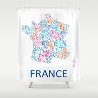 france Shower Curtains featuring France by Alexandra Dzh