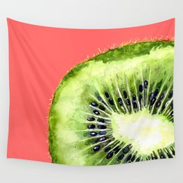 Kiwi on Coral Wall Tapestry