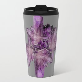 LIGHT PURPLE AMETHYST GEMSTONE CRYSTALS GREY ART Travel Mug