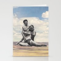 wrestling Stationery Cards featuring Pink Rocks Wrestling by Neil Campau