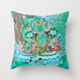 Green Tara Throw Pillow