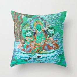 Green Tara Throw Pillow