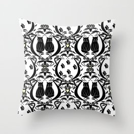 Midnight Cat Does Damask  Throw Pillow