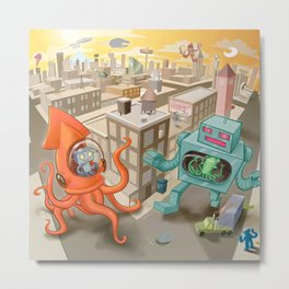 Squid vs Robot Metal Print