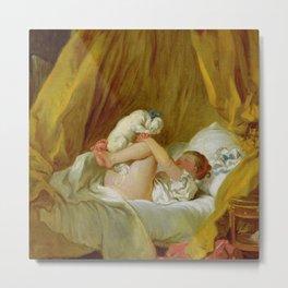 """Jean-Honoré Fragonard """"Girl with a dog (Jeune fille dans son lit, faisant danser son chien)"""" Metal Print"""
