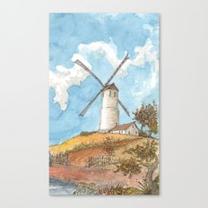 Windmill Against a Blue Sky Canvas Print