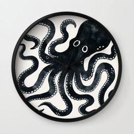 Minoan Octopus - Black Ink Wall Clock