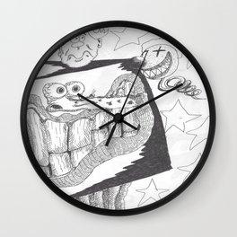Anxious Boxed Face With Clown & Sad Head Wall Clock