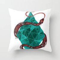 crystal Throw Pillows featuring Mystic Crystal by Hector Mansilla