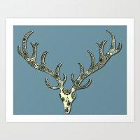 antlers Art Prints featuring Antlers by Rachel Russell