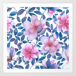 Romantic magnolia flowers Art Print