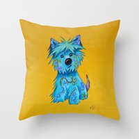 westie Throw Pillows featuring Westie dog by K.ForstnerArt