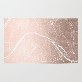 Paris France Minimal Street Map - Rose Gold Glitter on White Rug