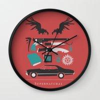 supernatural Wall Clocks featuring Supernatural by Abbie Imagine