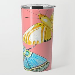 butterfly & moth on Coral Travel Mug