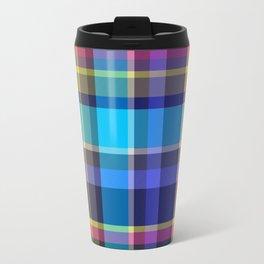 Navy, blue & Pink Tartan Plaid Travel Mug
