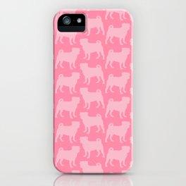 Pastel Pink Pugs Pattern iPhone Case