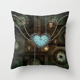 Wonderful steampunk heart with clocks and gears Throw Pillow