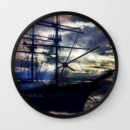 Lahaina Whaling Ship Moonrise Wall Clock