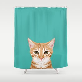 Tabby orange cat head cat breed gifts cute tabby cats must haves Shower Curtain