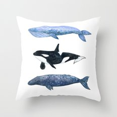 Watercolor Whale Pod Throw Pillow