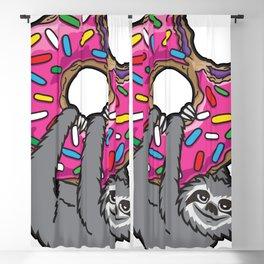Sloth loves donut Blackout Curtain
