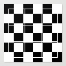 Black and white squares, crosses and lines Canvas Print