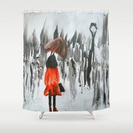 The Girl In The Red Rain Coat (Part 3)  Fine Art Acrylic Painting Shower Curtain