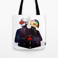 daft punk Tote Bags featuring Daft Punk by omurizer