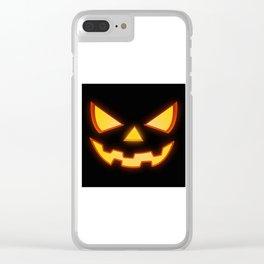 Scary Halloween Horror Pumpkin Face Clear iPhone Case