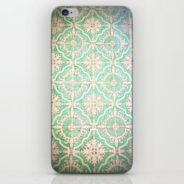 Turquoise Vintage Pattern iPhone Skin