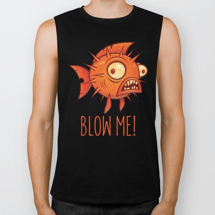 Blow Me Porcupine Blowfish Biker Tank