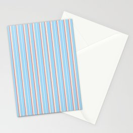 Blue Stripe Pattern Stationery Cards