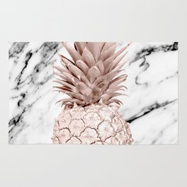 Rose Gold Pineapple on Black and White Marble Rug