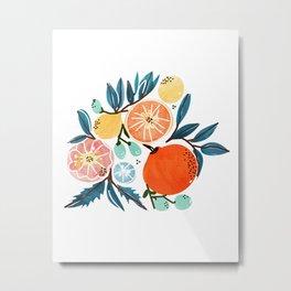 Fruit Shower, Colorful Food Botanical Nature Illustration, Juicy Tropical Garden Orange Jungle Metal Print