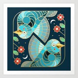Beautiful Art Deco Midnight Bluebirds And Blossoms Art Print