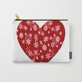 Red Heart Of Snowflakes Loving Winter and Snow Carry-All Pouch