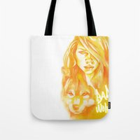bad wolf Tote Bags featuring Bad Wolf by Erin Garey