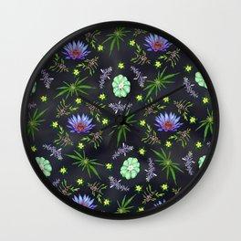Smokeable Hallucinogenic Plants Pattern Wall Clock