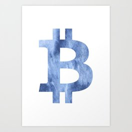 Bitcoin Blue clouds watercolor pattern Art Print