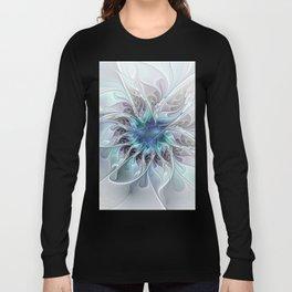Flourish Abstract, Fantasy Flower Fractal Art Long Sleeve T-shirt