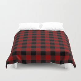 Red and Black Plaid Duvet Cover