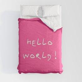 hello world pink Comforters