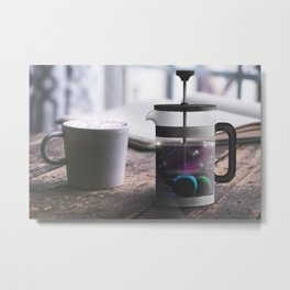 French Press Planets Surreal Photography Metal Print