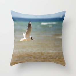 Seagull over the sea Throw Pillow