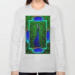 Decorative Blue & Green Peacock Art Design Long Sleeve T-shirt