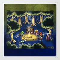 chrono trigger Canvas Prints featuring Chrono Trigger Camping Scene by likelikes
