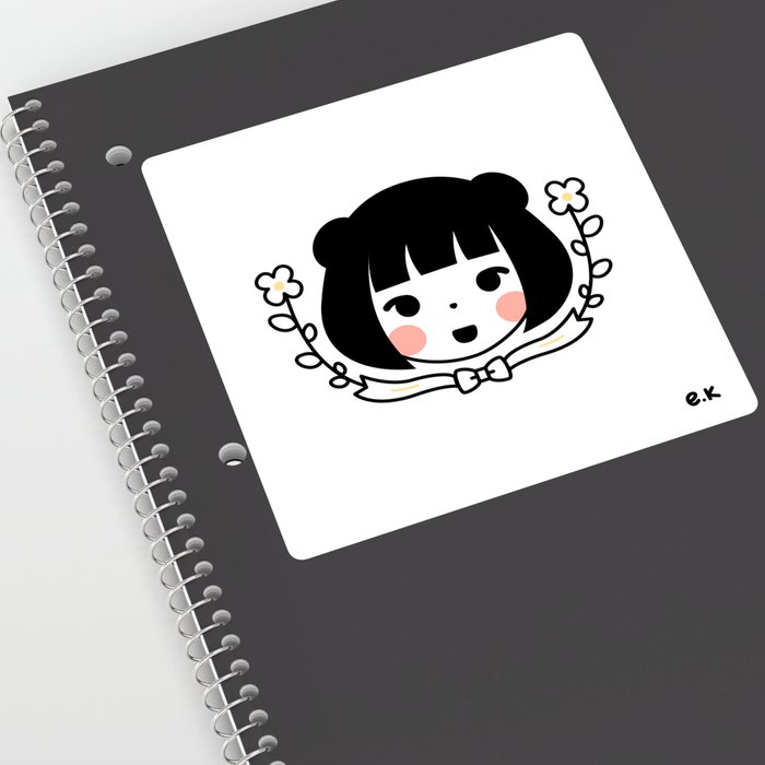 Girl / Flowers Sticker