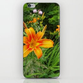 Day Lily Flowers and Thistle iPhone Skin